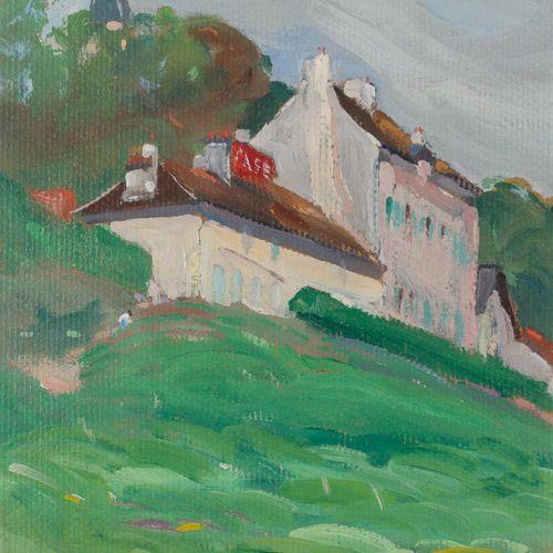 EDMOND HENRI ZEIGER DE BAUGY (1895 1994) Bord de Seine (Herblay) Olio su cartone…