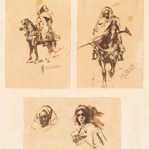 MARIANO BERTUCHI NIETO (Granada, 1884 1955) Lotto di tre disegni orientalisti Di…