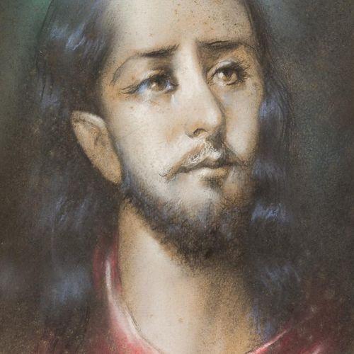 ESCUELA ESPAÑOLA, ppio. S. XX Volto di Cristo Pastello su carta 34 x 25 cm Su mo…