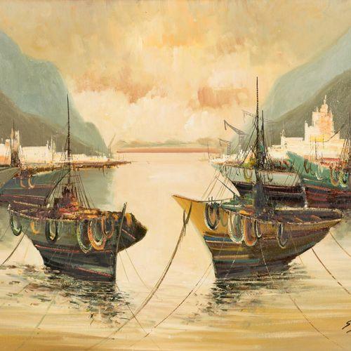 EUSTAQUIO SEGRELLES DEL PILAR (1936) Port View Olio su tela 60 x 81,5 cm Firmato…
