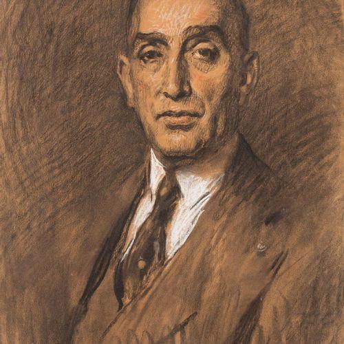 GUSTAVO BACARISAS Y PODESTÁ (Gibraltar, 1873 Sevilla, 1971) Ritratto Carboncino …