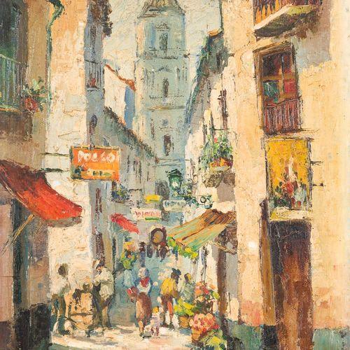 ESCUELA ANDALUZA, S. XX Calle San Juan Olio su tela 35 x 27 cm Firmato