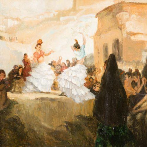 ESCUELA ANDALUZA, S. XX Zambra granadina Olio su tela 73 x 92 cm Firmato sulla p…