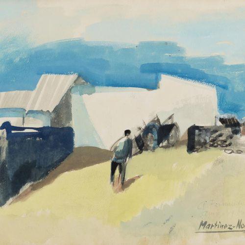 CIRILO MARTÍNEZ NOVILLO (Madrid, 1921 2008) Paesaggio con figura Acquerello su c…