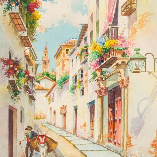 JOSÉ MÁRQUEZ MONTERO (Córdoba) Strada di Siviglia Acquerello su carta 15,5 x 27,…