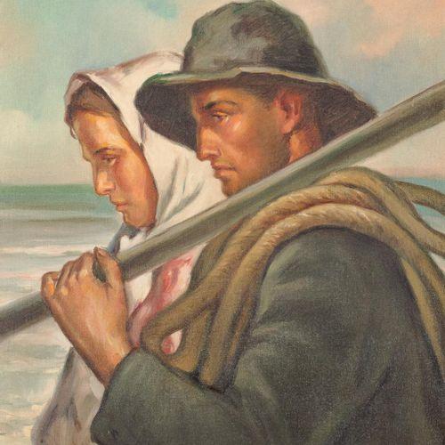 RAFAEL PEÑUELAS (Santa Cruz de Tenerife, 1901 2000) Coppia di pescatori Olio su …