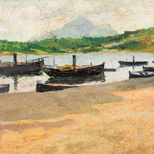 AUGUSTO COMAS y BLANCO (Valencia, 1862 Madrid, 1953). Barcas en la orilla Olio s…