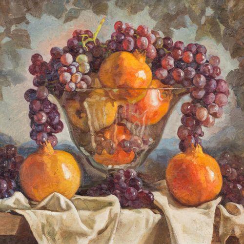 RAFAEL CANTARERO (Sevilla, 1907 1957) Natura morta con uva e melograni Olio su t…