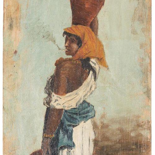 ESCUELA ESPAÑOLA, Fns. S. XX Giovane donna con brocche Olio su pannello 22 x 13 …
