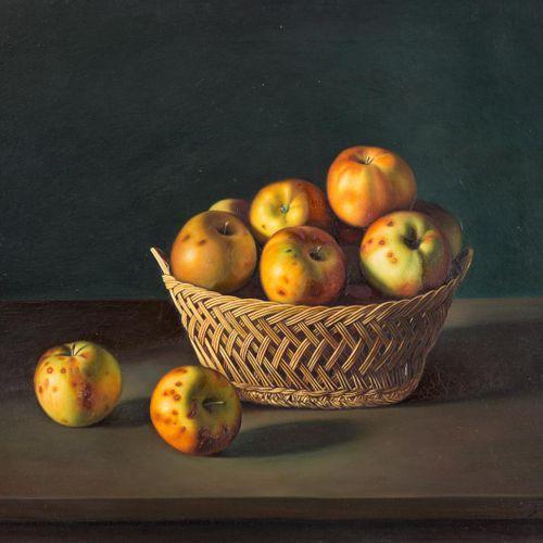 VICENTE FOLGADO FORTEZA (1921) Natura morta con cesto e mele Olio su tela 60 x 7…