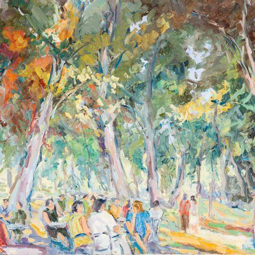 MONTSERRAT LUQUE (S. XX) Nel parco Olio su tela 50 x 60 cm Firmato in basso a de…