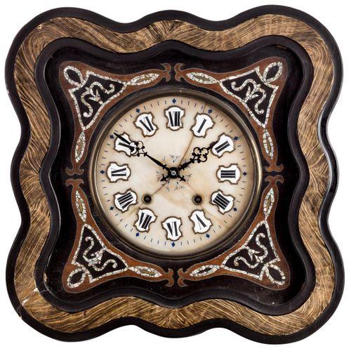"""Orologio da parete elisabettiano a """"occhio di bue"""" in legno ebanizzato e intarsi…"""