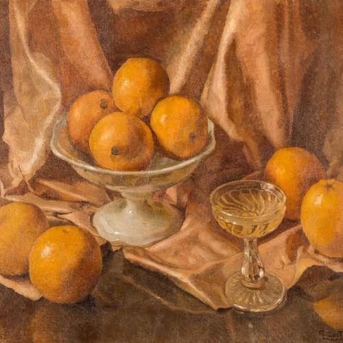 RAFAEL CANTARERO (Sevilla, 1907 1957) Natura morta con arance Olio su tela 55 x …