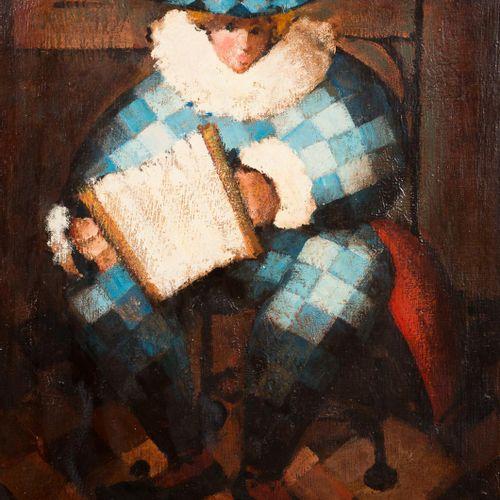 ESCUELA ESPAÑOLA, S. XX Arlecchino Olio su tela 55 x 46 cm Firmato in basso a de…