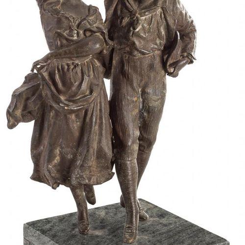 ESCUELA ESPAÑOLA, Fns. S. XIX Pps. S. XX Dancing Couple Calamina su base di marm…