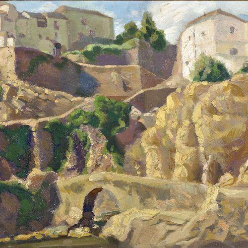 Rafael Ortega Heredia (Granada, 1937) Ronda Landscape Olio su cartone 28,5 x 39 …