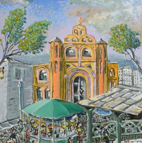 Vladimir CHETOCHINE (XX) Place d'abbesses, 1952 Huile sur toile signée en bas à …