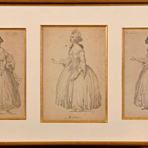 "Middle of the 19th century school  ""Three projects of costumes for Alphée""  Wash…"