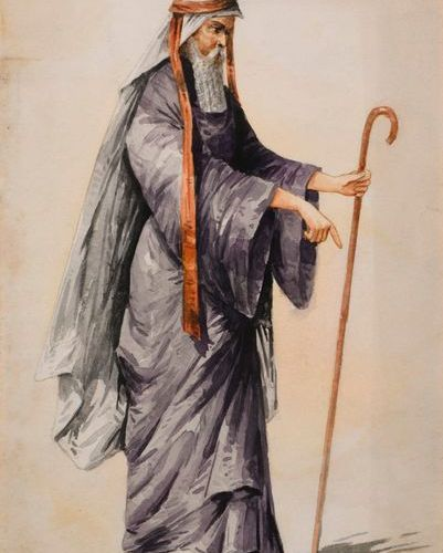 "Maxime de THOMAS (1867 1929)  ""Moses""  Watercolour on paper, signed Maxime de Th…"