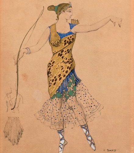 """After Léon BAKST (1866 1924)  """"Pas de Diane""""  Lithography heightened with gouach…"""