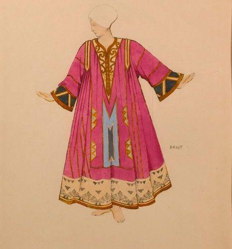 """Léon BAKST (1866 1924)  """"Personnage en costume de scène à la russe de l'opéra ru…"""
