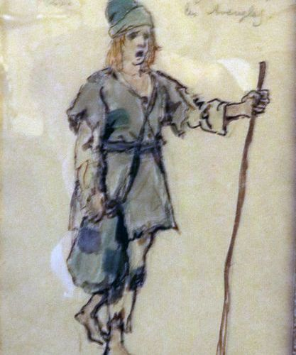 "Alexandre BENOIS (1870 1960)  ""Young boy guiding the blind in the opera Sadko""  …"