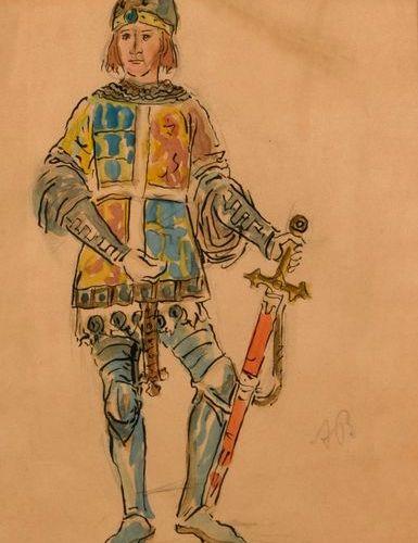 "Alexandre BENOIS (1870 1960)  ""Character (knight), ballet Giselle""  Watercolour …"