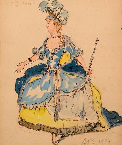 """Alexandre BENOIS (1870 1960)  """"Juno in les Noces de l'Amour et de Psyché""""  Gouac…"""