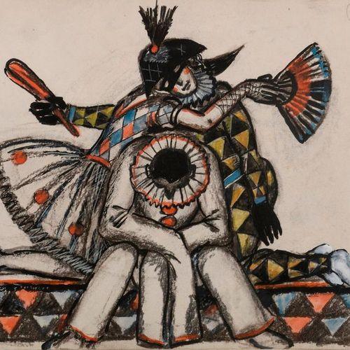 """Mistlav Valerijanovic DOBUZINSKI (1875 1957)  """"Colombine, Arlequin, Pierrot du b…"""