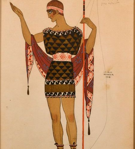 "Georges BARBIER (1882 1932)  ""Greek character from the theatre""  Watercolour, go…"