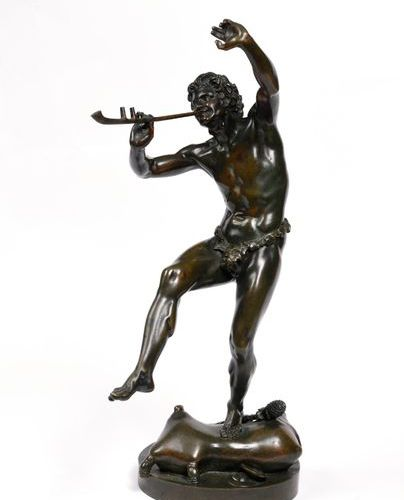 "Eugène Louis LEQUESNE (1815 1887)  ""Faun with a flute""  Bronze, nuanced green pa…"