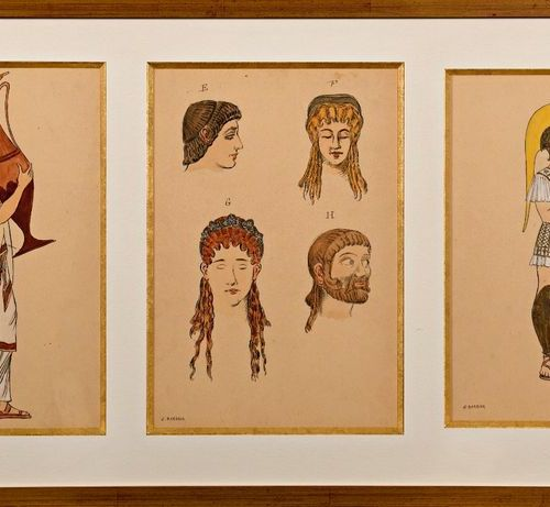 "Georges BARBIER (1882 1932)  ""Three studies of Greek women in the same framing"" …"