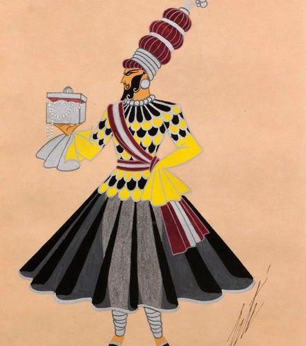 """ERTE (1892 1990)  """"Maharadjah bearer of presents""""  Gouache on paper, heightened …"""