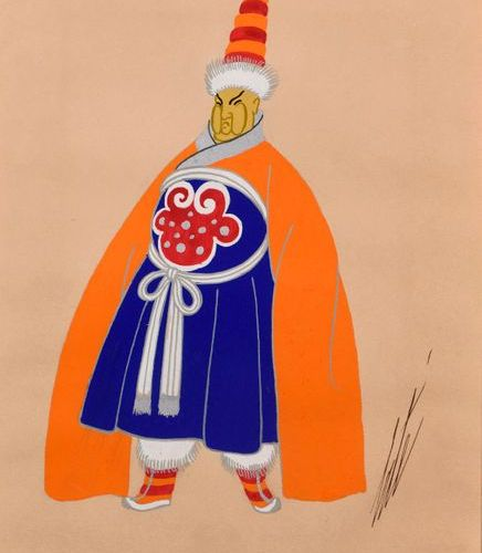 """ERTE (1892 1990)  """"Tibetan husband""""  Gouache on paper, heightened with silver, s…"""