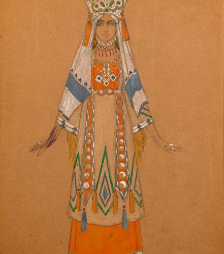 "Joseph PINCHON (active 1908 1914)  ""Gwendoline""  Gouache and pencil, signed J. P…"