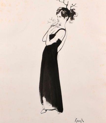"""Tom KEOGH (1921 1980)  """"Daphné""""  Encre de chine sur papier, signé Keogh et cache…"""