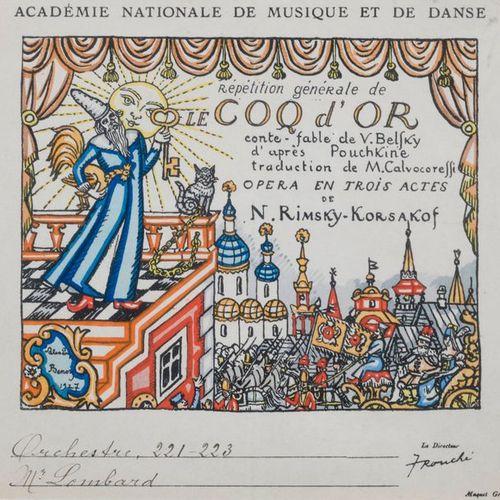 Programme de l'Opéra Le Coq d'Or de Rimsky Korsakof  Estampe  A vue : 18 x 19 cm