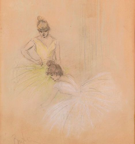 "Henri BOUTET (1851 1919)  ""Two ballerinas""  Pencil and pastel on paper, signed B…"