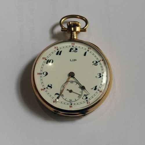 LIP Pocket watch, yellow gold (750/00), white enameled dial, with Arabic numeral…