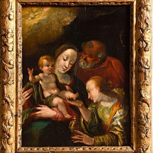 """Ecole flamande ou de Prague de la fin du XVIe siècle  """"La Sainte Famille avec Ma…"""