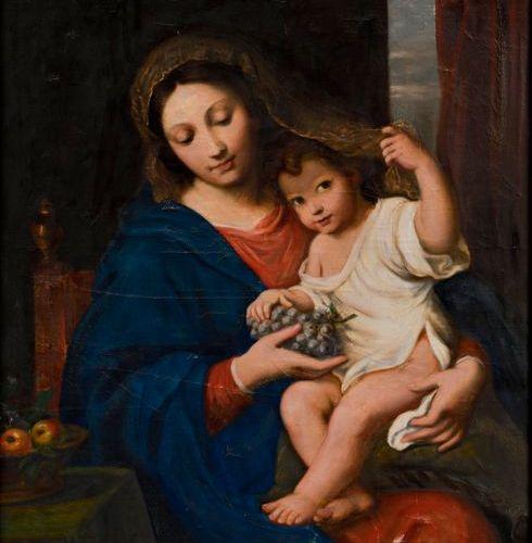 """D'après MIGNARD Pierre (1612 – 1695)  """"La Vierge à la grappe""""  Huile sur toile  …"""