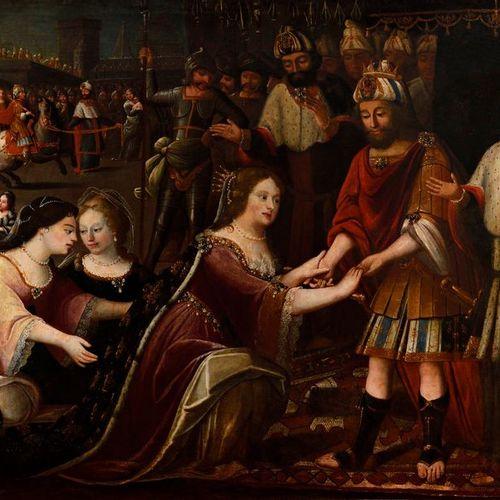 """Attributed to José GARCIA EL HIDALGO (c. 1650 1717),  """"Presentation of Esther an…"""