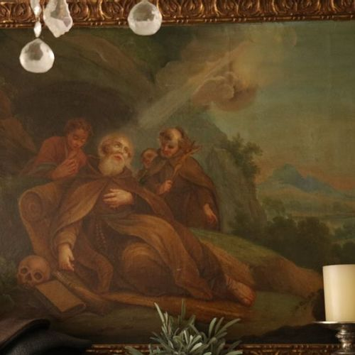 "French school of the 18th century  ""The last moments of a Franciscan in his retr…"