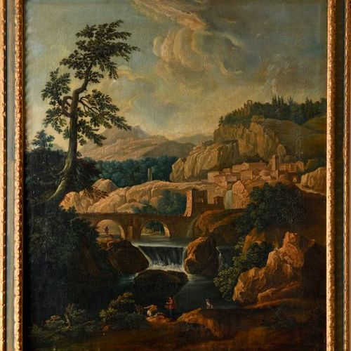 """Early 19th century French school  """"Mountainous landscape, with a bridge over the…"""