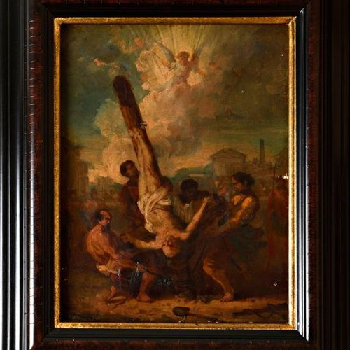 "Late 18th century French school  ""The crucifixion of Saint Peter""  Oil on canvas…"