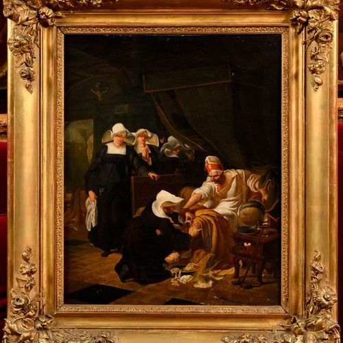 "19th century school  ""Hospital scene""  Oil on panel (Small restorations on the l…"