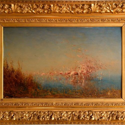 "Felix ZIEM (1821 1911)  ""Flamingos on the Vaccarès pond""  Oil on panel, signed o…"