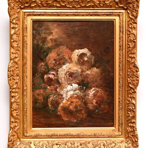 """Felix ZIEM (1821 1911)  """"Rose Bouquet""""  Oil on panel, signed on the lower left"""