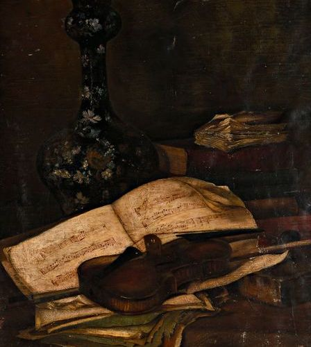 "Second half of the 19th century school  ""Still life with a violin and a partitio…"