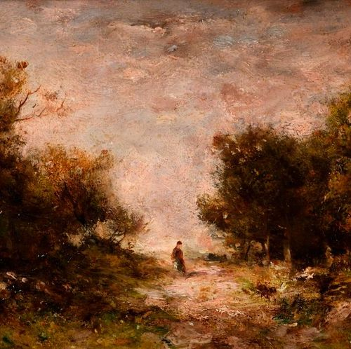 """Narcisse DIAZ de la PENA  """"A figure in the clearing""""  Oil on panel, bears a sign…"""